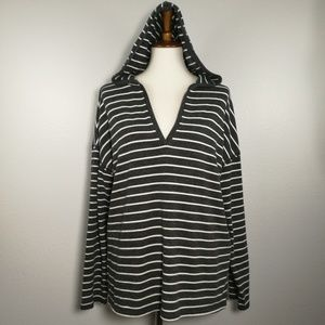 AEO Striped Hoodie Pull Over Sweatshirt Size XL